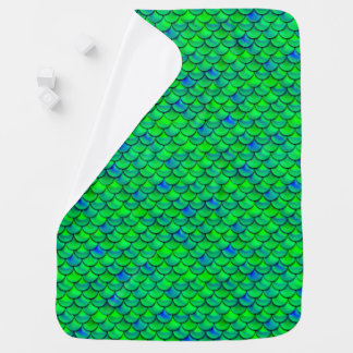 Falln Green Blue Scales Baby Blanket