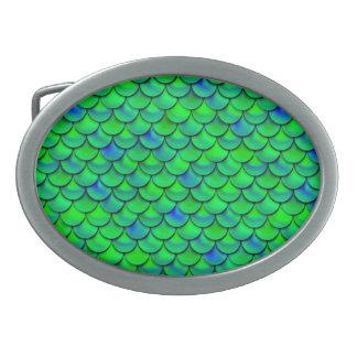 Falln Green Blue Scales Belt Buckle