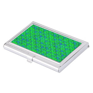 Falln Green Blue Scales Business Card Holder