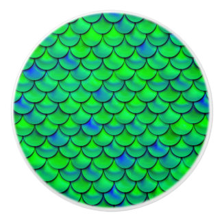 Falln Green Blue Scales Ceramic Knob