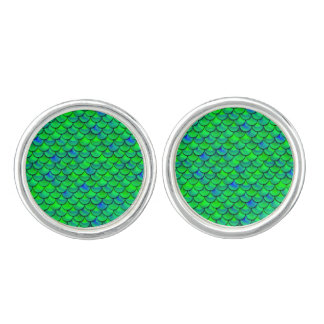 Falln Green Blue Scales Cuff Links