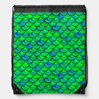 Falln Green Blue Scales Drawstring Bag