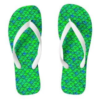 Falln Green Blue Scales Flip Flops