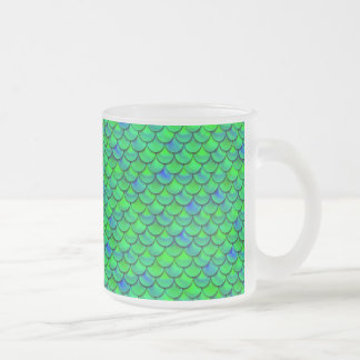 Falln Green Blue Scales Frosted Glass Coffee Mug
