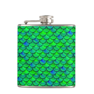 Falln Green Blue Scales Hip Flask