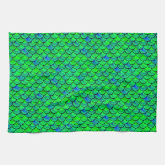 Falln Green Blue Scales Kitchen Towel