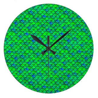 Falln Green Blue Scales Large Clock