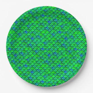Falln Green Blue Scales Paper Plate