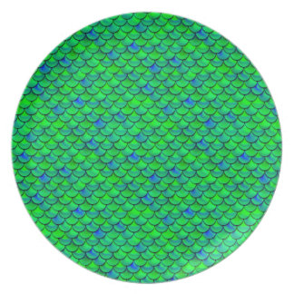 Falln Green Blue Scales Party Plates
