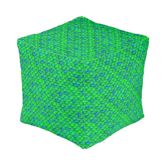 Falln Green Blue Scales Pouf