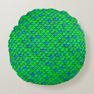 Falln Green Blue Scales Round Pillow