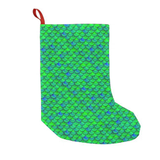 Falln Green Blue Scales Small Christmas Stocking