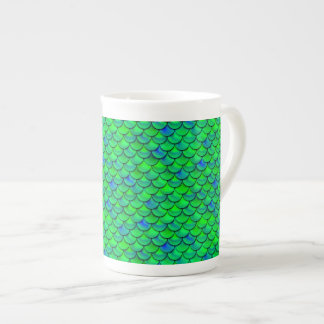 Falln Green Blue Scales Tea Cup