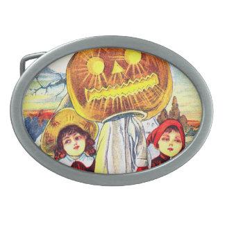 Falln Halloween Pumpkin Ghost Oval Belt Buckle