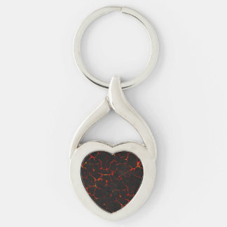 Falln Hot Lava Silver-Colored Twisted Heart Keychain