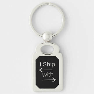 Falln I Ship It (You Choose Background Color!) 2 Silver-Colored Rectangle Keychain