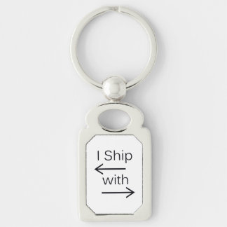Falln I Ship It (You Choose Background Color!) Silver-Colored Rectangle Keychain