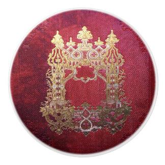 Falln Ink Stained Crimson Ceramic Knob