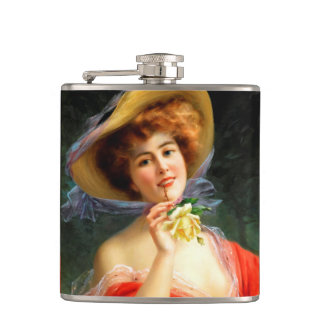 Falln Lady in Red Hip Flask