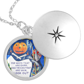 Falln Look Out Halloween Time Silver Plated Necklace