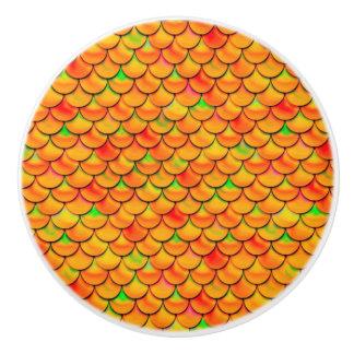 Falln Orange and Green Scales Ceramic Knob