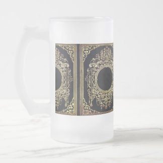 Falln Ornate Gold Frame (Perfect for a Monogram!) 16 Oz Frosted Glass Beer Mug