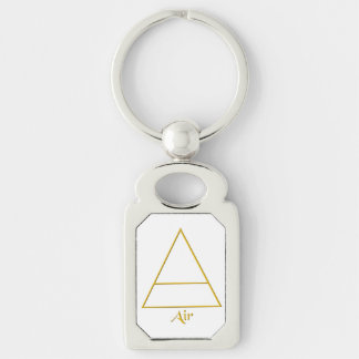 Falln Pagan Air Element Symbol Silver-Colored Rectangle Keychain