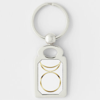 Falln Pagan Horned God Symbol Silver-Colored Rectangle Keychain