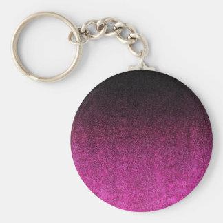 Falln Pink & Black Glitter Gradient Basic Round Button Keychain