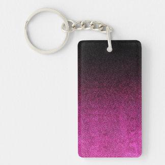 Falln Pink & Black Glitter Gradient Double-Sided Rectangular Acrylic Keychain