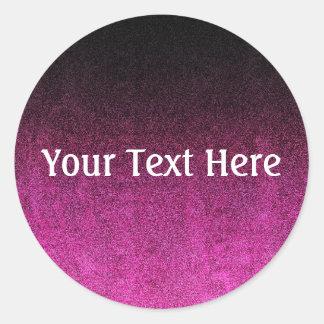 Falln Pink & Black Glitter Gradient Round Sticker