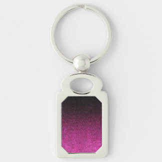 Falln Pink & Black Glitter Gradient Silver-Colored Rectangle Keychain
