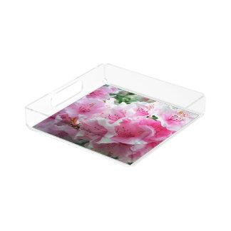 Falln Pink Floral Blossoms Acrylic Tray