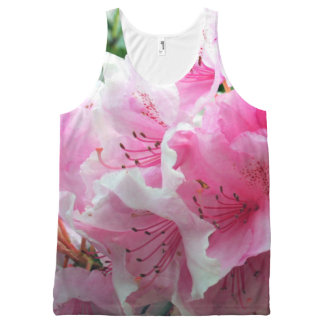 Falln Pink Floral Blossoms All-Over-Print Tank Top