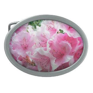 Falln Pink Floral Blossoms Oval Belt Buckle