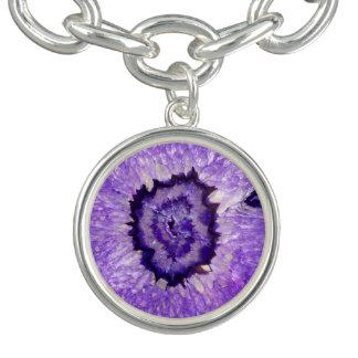 Falln Purple Agate Geode Charm Bracelet