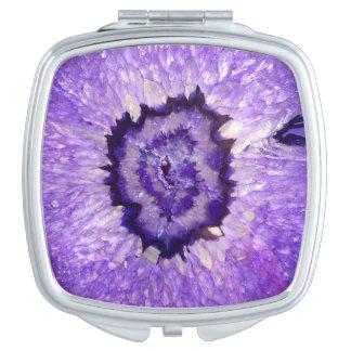 Falln Purple Agate Geode Travel Mirror