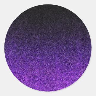 Falln Purple & Black Glitter Gradient Round Sticker