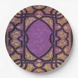 Falln Purple & Gold Vines Book Cover 9 Inch Paper Plate