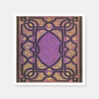 Falln Purple & Gold Vines Book Cover Disposable Napkins