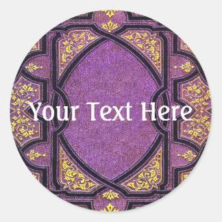 Falln Purple & Gold Vines Book Cover Round Sticker
