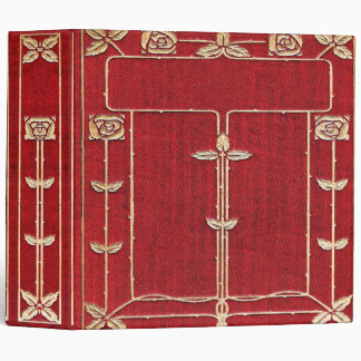 Falln Red and Gold Rose Vines Book 3 Ring Binders