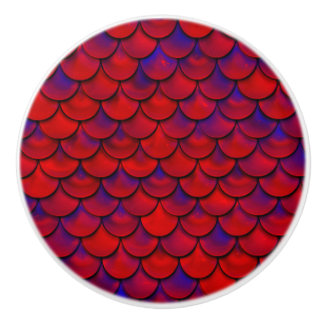 Falln Red and Purple Scales Ceramic Knob
