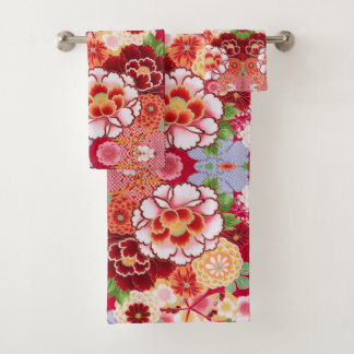 Falln Red Floral Burst Bath Towel Set
