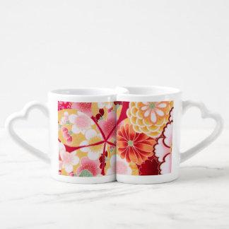 Falln Red Floral Burst Coffee Mug Set
