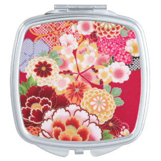 Falln Red Floral Burst Compact Mirrors