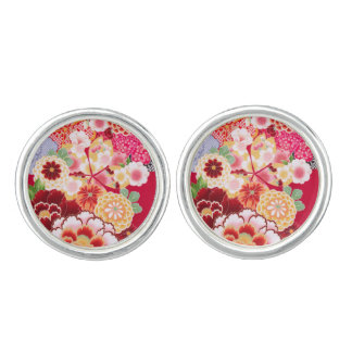Falln Red Floral Burst Cuff Links