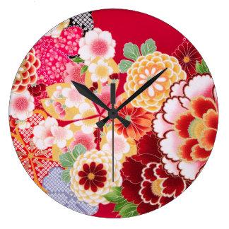 Falln Red Floral Burst Large Clock