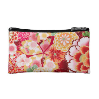 Falln Red Floral Burst Makeup Bags