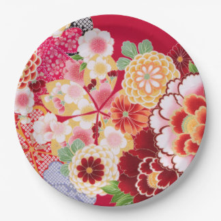 Falln Red Floral Burst Paper Plate
